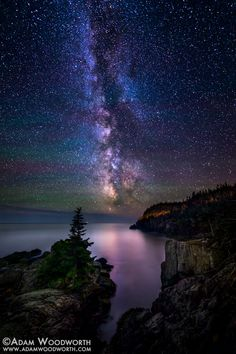 Milky Way Cove by Adam Woodworth on 500px................. thk::::::::::Rugged coast of Quoddy Head State Park in Lubec, part of the Bold Coast of Maine. There is virtually no light pollution except for the on/off beam of West Quoddy Head Lighthouse (which is lighting up the cliff on the right of this image) and a lighthouse on Grand Manan. The Milky Way was so intensely bright that you could see it reflected in the ocean with the naked eye.