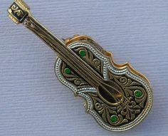 Vintage Brooch Damascene Style Spain Guitar Banjo Pin Musical Instrument