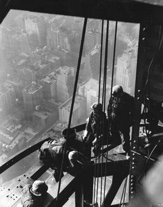 1931 Empire State Building Construction Workers - Construction Cost Estimating. Construction, workers, city view, history, stunning, courage, photograph, photo b/w.