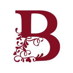 Silhouette Design Store: flourish heart monogram - b