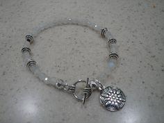 "7 1/4"" Rainbow Moonstone gemstone bracelet with star charm. by InnerGems on Etsy"