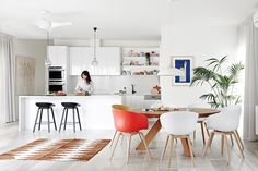 """Scandi-style renovation brings bungalow to life:Karling's style is simple but sophisticated. Hay """"About A Stool"""" **stools** from [Cult](http://cultdesign.com.au/