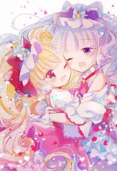 Cure Macherie and Cure Amour Anime Chibi, Kawaii Anime, Anime Art, Pretty Cure, Manga, Anime Sisters, Chibi Couple, Cute Kawaii Animals, Sad Anime Girl