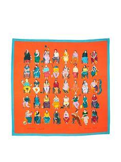 Hermes Women's Carre Scarf, Orange/Turquoise