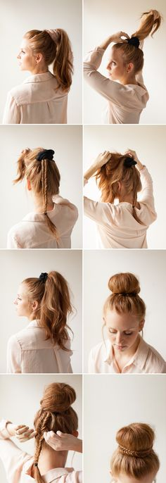 Elegant Fishtail Bun How To via oncewed.com
