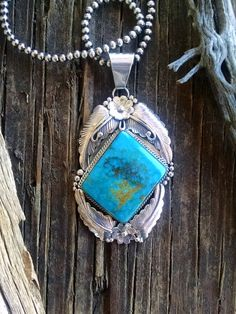 Bold Kingman Turquoise Feather & Flower Pendant | SUNFACE TRADERS