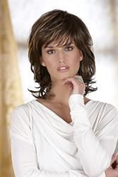 Danielle is a stylish, angled and layered cut with bangs. Machine-made cap construction with ultra-thin weftings.