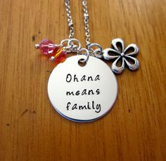 Ohana Means Family necklace. Inspired by Disney's Lilo & Stitch, by WithLoveFromOC on Etsy, $21.00.