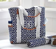 Navy Geo Harper Tote This was my ONE Pottery Barn purchase for Peter :)