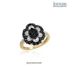 1 Carat Total Weight Genuine Black & White Diamond Flower Ring - Assorted Finishes at 90% Savings off Retail!