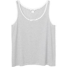 Marika singlet ($9.36) ❤ liked on Polyvore featuring tops, shirts, stripe tank, cream tank top, white singlet, monki and stripe tank top