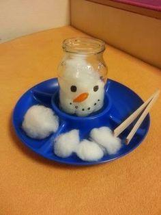 Diese Idee habe ich auf Pinterest entdeckt und so entzückend gefunden, und sofort umgesetzt: Ein leeres Marmeladeglas wird mit Wattebau...