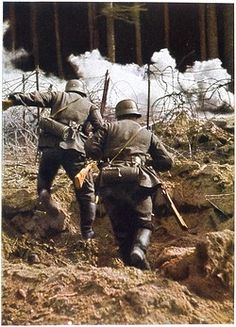German infantry in action - checked by barbed wire - pin by Paolo Marzioli