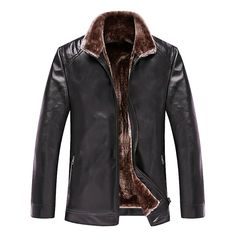 Sale 16% (63.48$) - Mens PU Leather Warm Thicken Casual Stand Collar Zipper Black Jacket