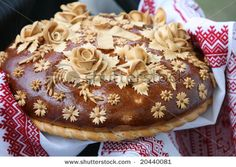 Ukrainian wedding bread...only part of the traditional Ukrainian wedding feast he agreed to...