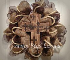 www.Facebook.com/JenniferBoydDesigns    Rustic Western Cross and Cowboy Everyday Deco Mesh Wreath in Brown and Burlap. $85.00, via Etsy.