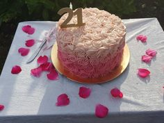 21 first, key birthday, fading ombre pink rose swirl cake🌸 Gold number diy🎉