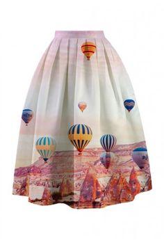 Hot Air Balloon Festival Printed Midi Skirt