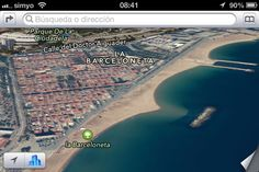Barceloneta Beach from the iPhone's new iOS6 Maps app