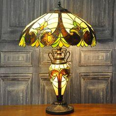 Multicoloured Double Tiffany Lamp 68cm Green & Orange Stained Glass Ivory Base | eBay