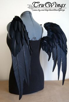 "RESERVED - Sentinel - Handmade Black Angel Costume Wings - 24""H x 30""W. $150.00, via Etsy. - AWESOME faux feathers!!!"