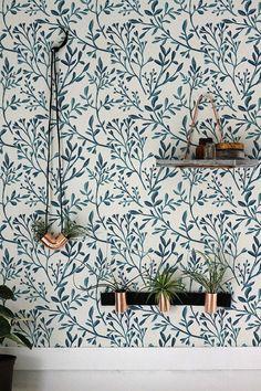 Watercolor botanical wallpaper Wall Decor Peel & Stick