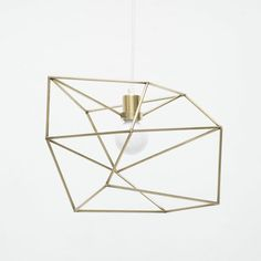 "Small Brass Spica with White Cord & White Canopy by Iacoli & McAllister | 12"" x 12"" x 12"""