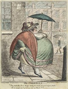 "DER REGENSCHIRM: Karikatur von George Cruikshank (1792-1818) berechtigt ""der Regenschirm"" / Caricature by George Cruikshank (1792-1878)  entitled 'The Umbrella'."
