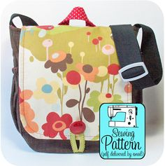 SEWING PATTERN ONLY. Finished products, fabric & other supplies are not included. Your pattern is emailed to you within 24-hours of your purchase. _ _ _ _ _ _ _ _ _ _ _ _ Use this SEWING PATTERN to make a classic messenger bag in a neat & compact size. This small bag is built for efficiency. There are five pockets and two pen slips. (1) front exterior pocket - no closure, it is under the flap (1) back exterior pocket - small VELCRO tab closure (2) stretchy pockets at the sides - great for…