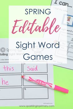 Spring EDITABLE sight word games! Common core aligned, differentiation options, and 17 total printable sight word worksheets included. Editable sight word games are great for literacy centers, intervention groups, or whole group. #sightwords #literacy #kindergarten #sparklinginprimary