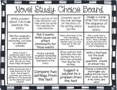DIFFERENTIATED NOVEL STUDY CHOICE BOARDS (LITERATURE CIRCLES) - TeachersPayTeachers.com