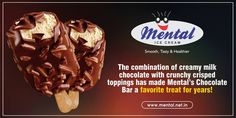 The combination of creamy milk chocolate with crunchy crisped toppings has made Mental's Chocolate Bar a favorite treat for years!