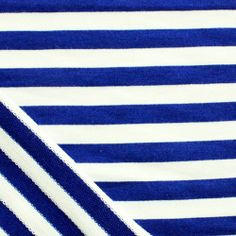 Electric Blue Stripe Cotton French Terry Spandex Knit Fabric - Hard to find!  Very high quality designer french terry knit with spandex in a electric blue small stripe.  Fabric is super soft with a nice stretch, recovery, and drape.  Stripes are yarn dyed (on both sides) and measure 1/2