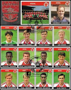 History of Panini stickers in England football. England Football, Arsenal Football, Sport Football, Football Cards, Arsenal Players, Arsenal Fc, Lee Dixon, Kunst, Arsenal F.c.