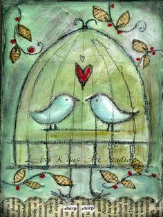 Love bird doodle mixed media ideas for 2019 Kunstjournal Inspiration, Art Journal Inspiration, Mixed Media Collage, Mixed Media Canvas, Bird Doodle, Bird Artwork, Bird Drawings, Mandala, Animals