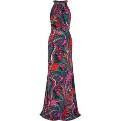Emilio Pucci - Printed Silk Crepe De Chine Gown ($716) ❤ liked on Polyvore featuring dresses, gowns, gown, black, emilio pucci dress, colorful gowns, multi print dress, print gown and emilio pucci gown