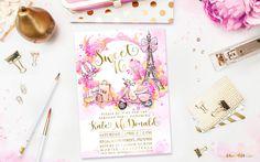 Eiffel Tower Paris Invitation Watercolor Flowers by FoliesBergere