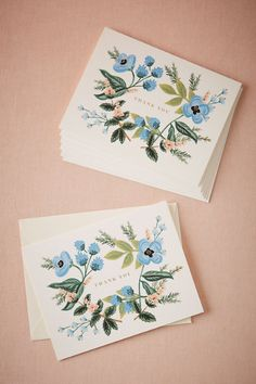 White Blue Blooms Floral Thank You Cards (8) | BHLDN