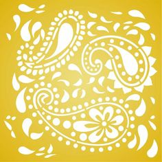 Paisley Stencil Paisley Stencil, Stencil Diy, Stencils, Worli Painting, Stencil Painting On Walls, Stencil Patterns, Stencil Designs, Wallpaper Stencil, Hand Painted Walls