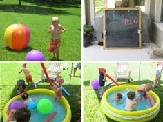 So many ideas for a backyard party for toddlers. Outdoor chalkboard...blown up pool with pool noodles and sprinklers!