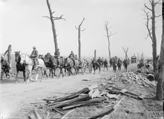 Horse drawn and motorised transport, including gun limbers for a Royal Field Artillery Battery, seen on the Ypres-Menin Road, September during the Battle of Polygon Wood, part of the Battle of Passchendaele. Battle Of Passchendaele, Royal Horse Artillery, Battle Of The Somme, Flanders Field, British Soldier, Prisoners Of War, Horse Drawn, World War I, Historical Photos
