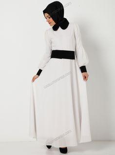 Tüllü İpek Elbise 5000 - Beyaz - Mustafa Dikmen