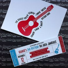 Pack Of Ten Personalised Music Invites