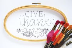 FREE Give Thanks Embroidery Pattern // wild olive for About.com