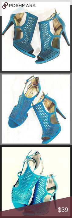 """✨NWOB✨Teal Suede Peek Toe High Heels 🦋 NWOT Gorgeous Teal Suede Laser Cut Peek Toe High Heel Shoes 🦋 they are 4"""" Heels Worthington Shoes Heels"""