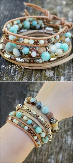 "Set of 3 Boho Chic ""Morning Calm"" Stack Bracelets, Bohemian Gypsy Indie Rustic Leather Wrap Multistrand Bracelets Jewelry ByLEXY #boho, #bohemian, #gypsy, #indie, #bohosetofbracelets, #bohemianjewelry, #bohemianbracelet, #gypsyjewelry, #stackbracelets, #indiejewelry, #leatherwrapbracelet, #multistrandbracelet"