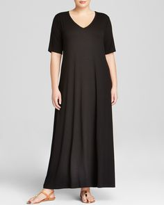 Karen Kane Plus Size Fashion Black V Neck Maxi Dress available at  Bloomingdale's #Plus #Plus_Size #Fashion #Plus_Size_Fashion #Black #Karen_Kane #Sexy #Side_Slit #Maxi #Dresses   #Maxi_Dresses #Plus_Size_Maxi_Dresses #Bloomingdales
