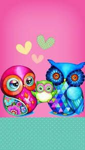 By Artist Unknown. Owl Wallpaper Iphone, Cute Owls Wallpaper, Flowery Wallpaper, Samsung Galaxy Wallpaper, Wallpaper Backgrounds, Stitch Games, Acrilic Paintings, Owl Cartoon, Owl Pictures