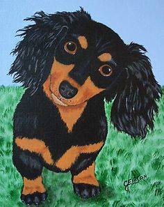 "Dachshund  ""The Famous Puppy Head Tilt""   New Original Painting Julie Ellison Art"