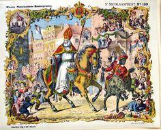 Centsprent over de plechtige intocht van Sint Nicolaas